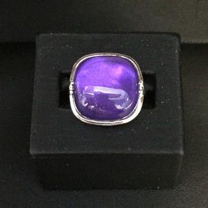 Sterling purple MOP ring